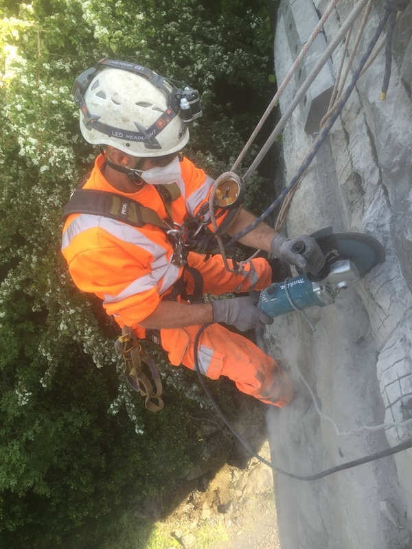Preparing the stonework for a safety system